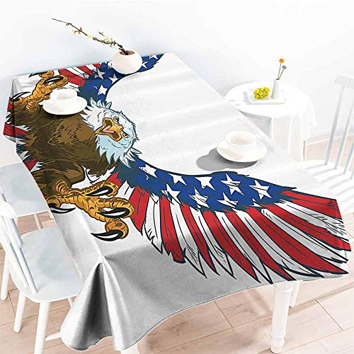 HRoomDecor Fabric Tablecloths for Kitchen Room,Americana Decor,Mean Screaming Bald Eagle Flying Toward American Flag as Spread and Talons Out Wings Design,Blue 70