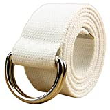 WUAI Canvas Belt Adjustable Belts No Buckle Tactical Breathable Military Waistband Belts(White,One Size)