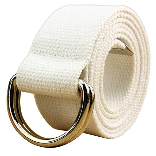 (WUAI Canvas Belt Adjustable Belts No Buckle Tactical Breathable Military Waistband Belts(White,One Size) )