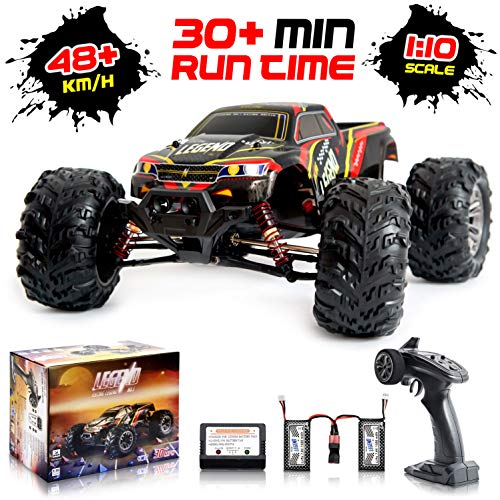 - 1:10 Scale Large RC Cars 48km/h+ Speed | Boys Remote Control Car 4x4 Off Road Monster Truck Electric | All Terrain Waterproof Toys Trucks for Kids and Adults | 2 Batteries + Connector for 30+ Min Play