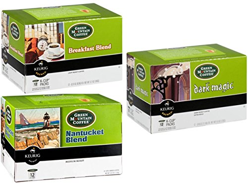 Green Mountain Coffee K-Cup Variety Pack (36 Count): Breakfast Blend, Nantucket Blend and Dark Magic