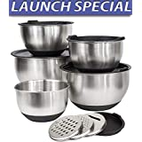 Misc Home [Deluxe Set] 5 Premium Grade Stainless Steel Mixing Bowl Set with Lids and Non Skid Bottoms Stainless Steel Mixing Bowls with Pour Spout Measurement Marks and 3 Grater Attachments