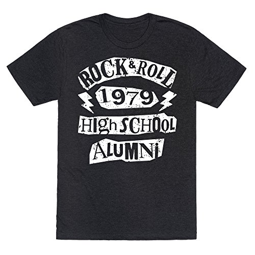 LookHUMAN Rock and Roll High School Alumni Heathered Black Small Mens/Unisex Fitted Triblend Tee - 25% Credentials Cotton