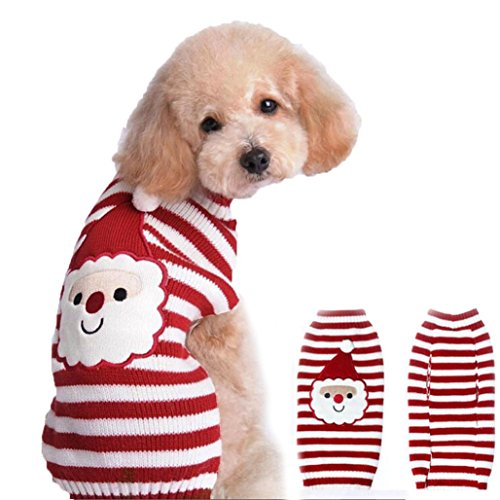 [DEESEE(TM) Pet Dog Santa Claus Printed Clothes Puppy Winter Sweater Costume Jacket Coat (M)] (4xl Santa Costume Uk)