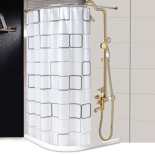 Cortina blanca y negra de la ducha de la rejilla para el cuarto de baño,Cortina de baño simple Cortina de ducha curvada de...