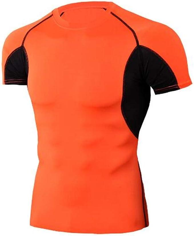 Camisa de Manga Corta de Verano Camisa Deportiva de Manga Larga para Hombre Camisa Deportiva de Hombre Delgado, Estiramiento Fitness - B Orange XL: Amazon.es: Ropa y accesorios