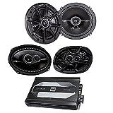 Kicker 41DSC6934 6''x9'' 3-way speakers + Kicker 41DSC654 6-1/2'' 2-way speakers + Dual XPA4640 4-channel car amplifier — 50 watts RMS x 4