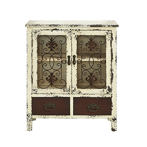 Powell Furniture Parcel 2-Door 2-Drawer Console, White - Distressed White Cabinet