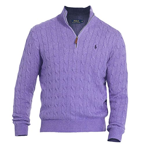 Polo Ralph Lauren Mens Cable Knit 1/4 Zip Pullover Sweater Purple XS by Polo Ralph Lauren