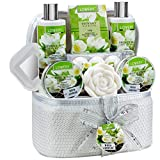 Bath and Body Gift Basket For Women – 14 Piece Set in White Jasmine Scent - Home Spa Set with 6 Bath Bombs, Body Lotion, Roses Soap, Hand Crafted White Sequined Cosmetics Bag and More