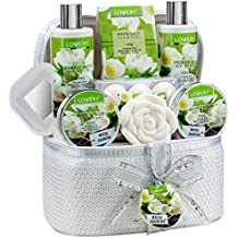 Valentines Bath and Body Gift Basket For Women & Men – 14 Piece Set in White Jasmine Scent - Home Spa Set with 6 Bath Bombs, Body Lotion, Roses Soap, Hand Crafted White Sequined Cosmetics Bag and More