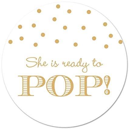 Amazon 40 Ready To Pop Baby Shower Stickers Gold On White