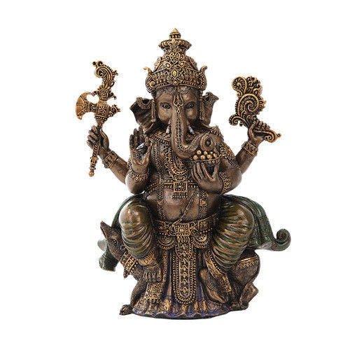 Hinduism Religion Elephant God Ganesha Sitting In Painted Bronze Finish Statue