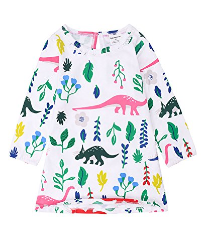 Gold treasure Little Girls Nightgown 100% Cotton Playwear Dress Long Sleeve Sleepwear Cartoon Dinosaur 2-7 Years