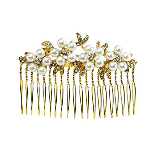 omb, Pearl and Rhinestone, Bridal Hair Accessory for Women, Girls, Teens, Event, Hair Fashion, Wedding, Occasion (Gold) (Event Accessories)