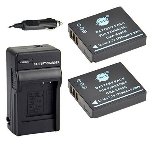 DSTE 2x CGA-S005E Battery + DC68 Travel and Car Charger Adapter for Panasonic Lumix DMC-FX50 FX100 FX3 Ricoh GR II Camera as DMW-BCC12 DB-60 Samsung IA-BH125C Ricoh DB-65 Sigma BP-41 Pentax D-Li106