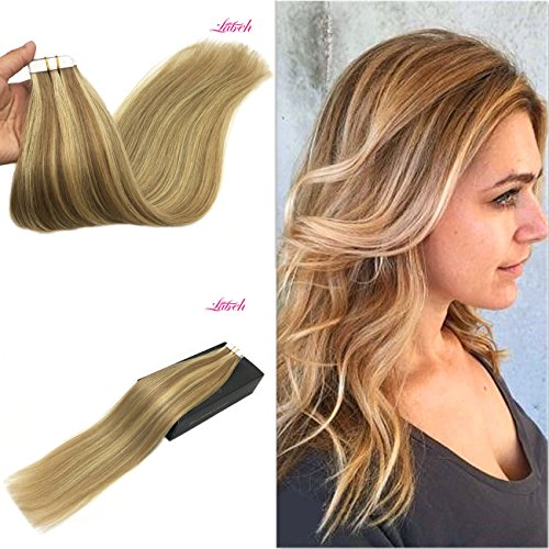 Labhair 16inch 20pcs 50g Dyed Colored Ombre Seamless Tape in Human Hair Extension Ombre Highlight Caramel Blonde Balayage Hair Color - Warm Colors Skin Toned