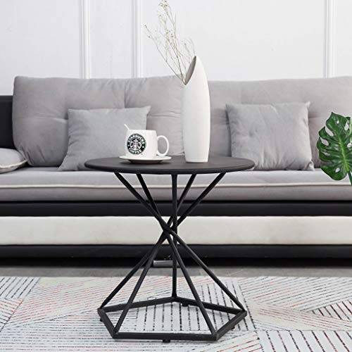LF Nordic Wrought Iron Round Coffee Table, Living Room Balcony Creative Small Round Tea Table Study Table Gold/Black (Color : Black, Size : ()
