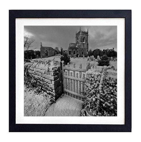GLITZFAS PRINTS Framed Wall Art- Cemetery Crypt Winter Snow Monuments Night- Art Print Black Wood Framed Wall Art Picture for Home Decoration - Black and White 16