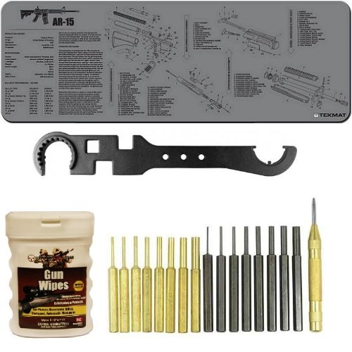 Ultimate Arms Gear Gunsmith & Armorer's Deluxe AR15 AR-15 M4 M16 .223 5.56 Rifle Bench Package Kit: Grey Neoprene Schematics Gun Mat + Heavy Duty Steel Multi Tool Combo Wrench For Stock Muzzle Brake Flash Hider Free Float Handguard Quad Rail + Gun Wipes Patches Cleaner Oil Pop-Up Dispenser (50-Sheets) + 18 pc Steel/Brass Roll Pin Starters Punch Disassembly Takedown