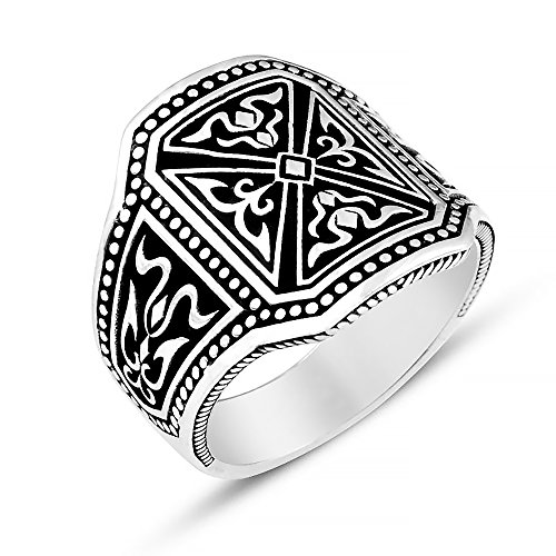 Chimoda Mens Rings 925 Sterling Silver Men's Handmade Ring Unique Vintage Design Male Jewelry with Engraved Turkish Motifs (9.5)
