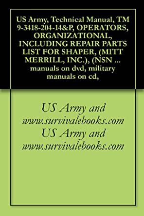 Mitts /& Merrill Shaper NSN 3418-00-412-4506 Service Owners Manual Parts Lists