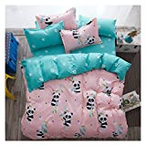 KFZ Baby Panda Duvet Cover Queen Set, 3PCs Include 1 Duvet Cover 90'x90' (Without Comforter Insert) and 2 Pillow Cases, Cute Pink Kids Bedding