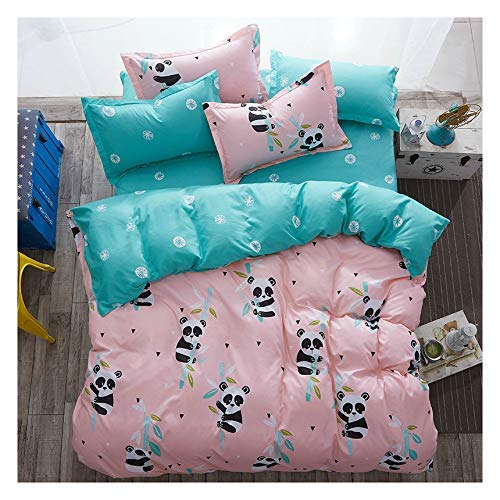 KFZ Baby Panda Print Kids Twin Bedding Set, 3PCs Include 1 Duvet Cover 66x86 (Without Comforter Insert) and 2 Pillow Cases, Cute Pink Bed Set for Girls