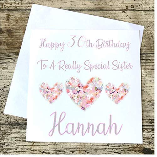 Personalised Birthday Card Daughter Sister Best Friend Mum Mother Mummy Floral 16th 18th 21st 30th 40th 50th 60th 70th Amazoncouk Handmade