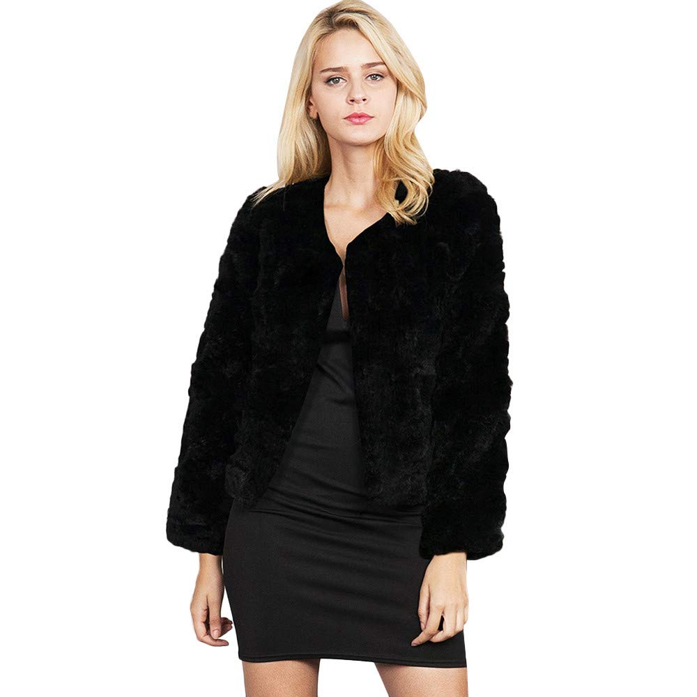 Fashion Women Winter Warm Long Sleeve Round Collar Smooth Faux Fur Coat Overcoat by Dacawin