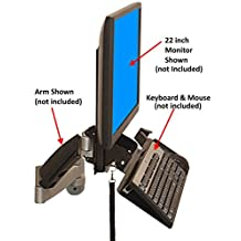SDS VESA Keyboard & Monitor Wall Mount w/ Tilt, Fold Away Adjustable Tray System 7x18 Tray + Mouse Ext. (Mounts Directly To The Wall)