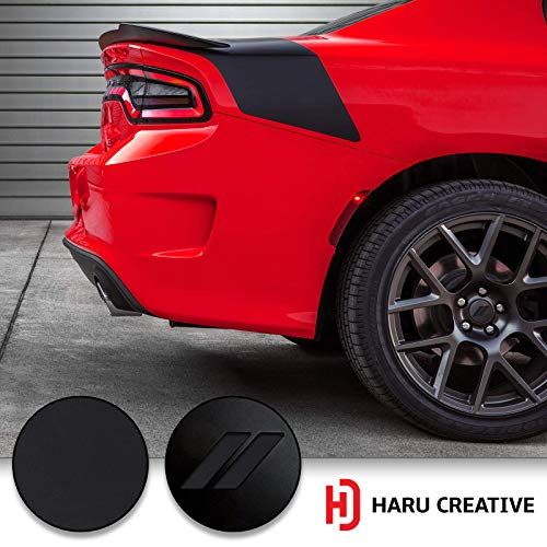 (Haru Creative - Stripe Hash Rhombus Wheel Center Cap Overlay Vinyl Decal Sticker Compatible with and Fits Dodge Charger and Challenger 2017 2018 (no Wheel caps Included) - Matte Black)