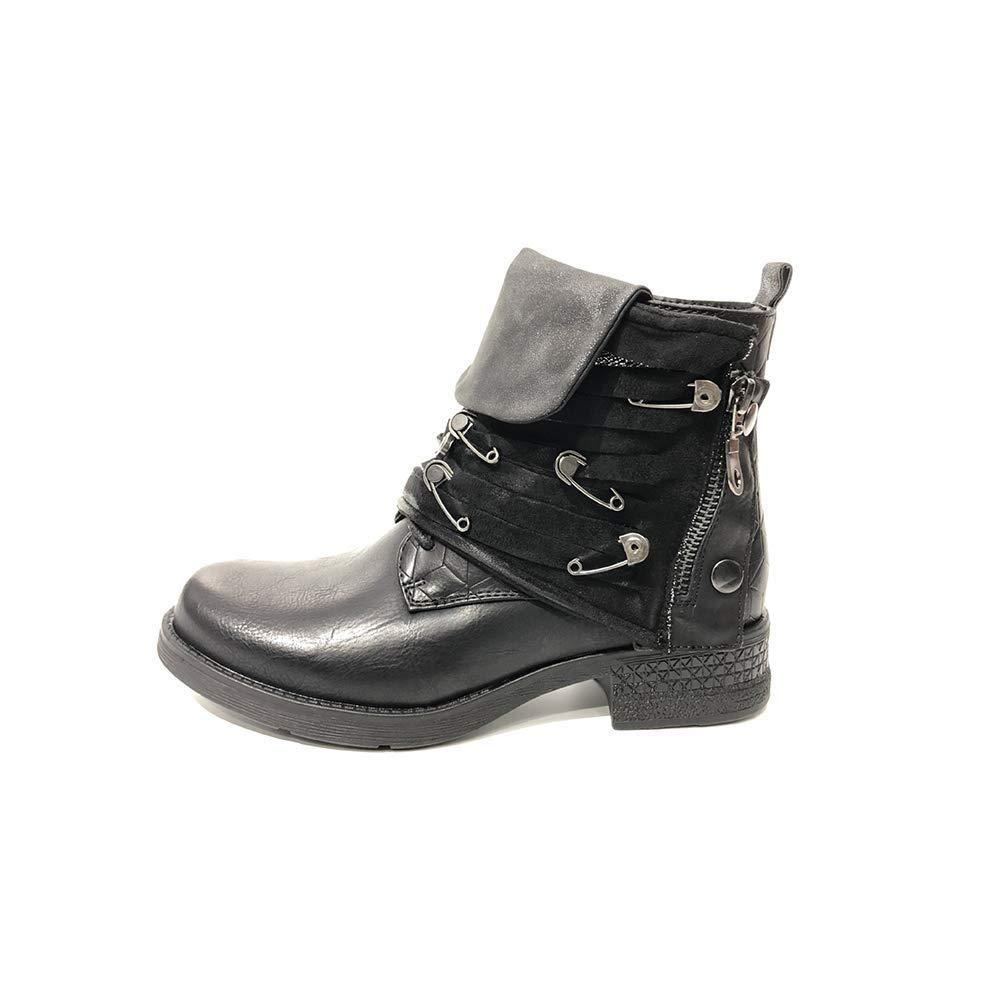 Damen italienischer Stil Martin Stiefel Retro Seitlicher Reißverschluss Stiefeletten Winter draussen Bewegung Stiefel Schwarz (Absatzhöhe  3cm)