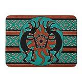 Ablitt Bath Mat Teal Southwestern Kokopelli Southwest Design Native American Indian Flute Bathroom Decor Rug 16'' x 24''