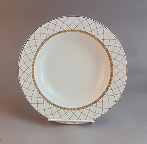 "10"" Soup Plate with Gold Net, European Vintage Porcelain Dinner Plate with Gold Trim, Rimmed Soup Bowl, 6-Piece Set"
