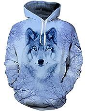 uideazone Uniesx 3D-Druck Hoodies Fleece-Pullover Lustige Kapuzenpullover Sweatshirt für Herren Damen mit Großen Taschen