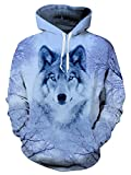 Uideazone Fashion Juniors Men Cool Hoodie Pullover Sweatshirts Wolf Shirts Tops