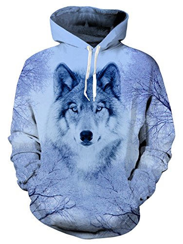 Belovecol Mens Plus Size Fleece Hoodie 3D Print Wolf Pullover Hoodie Sweatshirts XXL