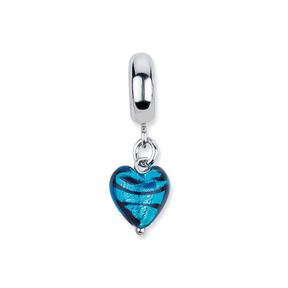 Murano Glass & Sterling Silver Blue Heart Stripes Dangle Bead Charm