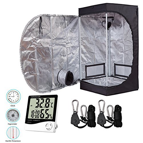 "$72.99 indoor grow tent setup BloomGrow 24""x24""x48"" High Reflective Mylar Hydroponic Grow Tent with Waterproof Removable Floor Tray + Hydroponic Accessories Grow Tent Kit for Indoor Plant Growing (24""x24""x48"" Kit) 2019"