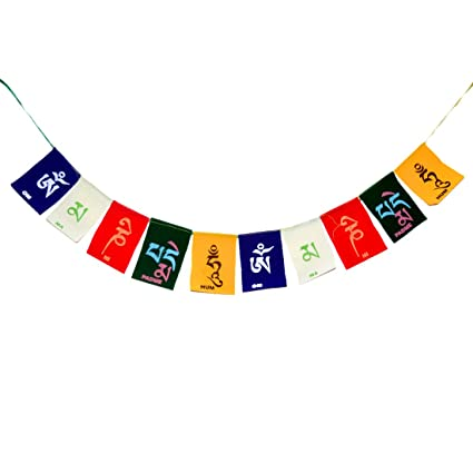 Reiki Crystal Products Hanging Tibetan Buddhist Prayer Cotton Flags for Car and Home(Multicolour)