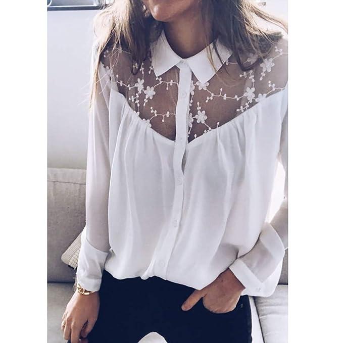 Guesspower Chemisier Femme Manches Longues Couture de Dentelle Button Chemise  Col V Top Blouse Mode Multicolore Chic Chemisier Classique Top  Amazon.fr   ... c255298a4031