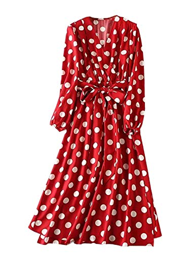 ROMWE Women's Plus Elegant Vintage Polka Dot Surplice Maxi Dress Flare Flowy Party Dress Red 3X Plus