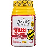 Zarbee's Naturals Children's Complete Multivitamin + Iron Gummies Sweetened with Honey, Natural Fruit