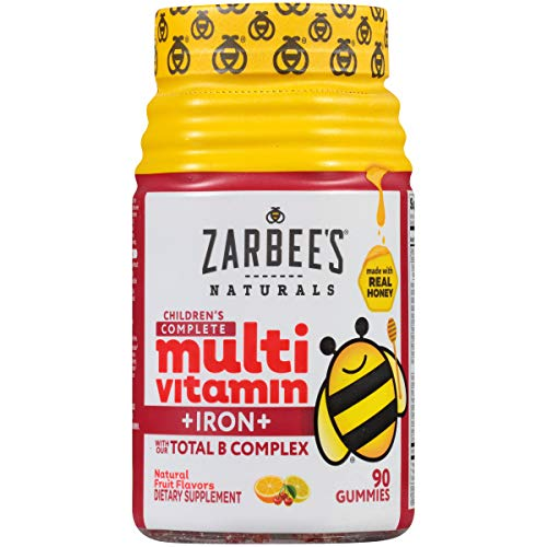 Zarbee's Naturals Children's Complete Multivitamin + Iron Gummies with Our Total B Complex and Essential Vitamins, Natural Fruit Flavors, 90 Gummies ()