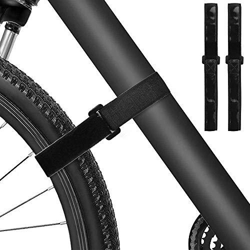 Carperipher 2 Pack Adjustable Bike Rack Strap, Bike Wheel Stabilizer Straps with Gel Grip for Bundling Bicycles, Skis, Mini Bike Pumps, Yoga Mats (Black)