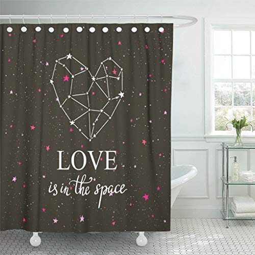 Emvency Waterproof Fabric Shower Curtain Hooks Starlit Heart Dark Night Sky Stars Constellation in The Form of Hand Lettering Phrase Love is Extra Long 72