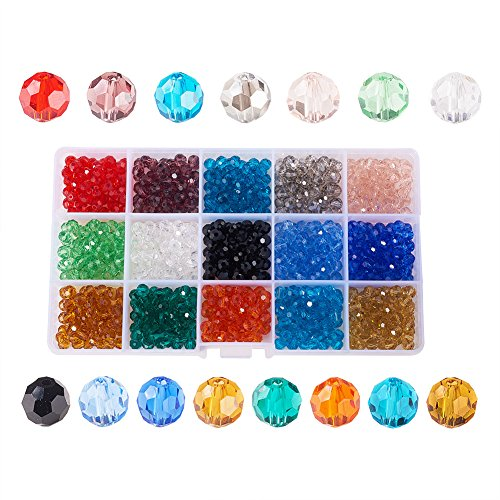 PH PandaHall 1 Box (About 750pcs) 15 Color 6mm Briolette Faceted Crystal Glass Beads Assortment Lot for Jewelry ()