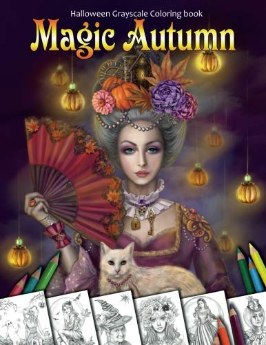 Magic Autumn. Halloween Grayscale coloring book: Coloring Book for Adults -