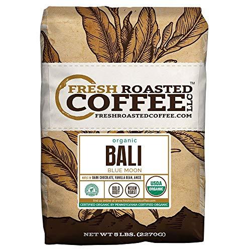 Bali Blue Moon Organic, Rain Forest Alliance, Whole Bean coffee, Fresh Roasted Coffee LLC. (5 lb.)